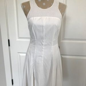 Rebecca Taylor White/Off White Pleated Midi Dress